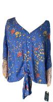DEMOCRACY Women's Boho Blouse Large Blue Floral Button Down Tie Front V-Neck
