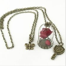 NECKLACE BEAUTY AND THE BEAST & DISNEY ENCHANTED ROSE DOME BELLE PRINCESS MIRROR