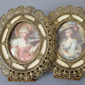 Pr Vintage Fancy Gilt FILIGREE Frames w Easels Miniature Portraits French LADIES
