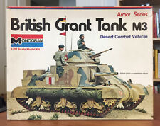 Vintage Monogram 1/32 British Grant M3 Medium Tank, 1973 Issue, Model Kit #7535