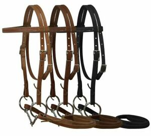 Pony Size Leather Headstall w/ Twisted O-Ring Snaffle Bit & Reins