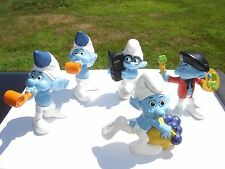 McDonalds Smurf Cake Topper Party Cell Phone Artist Blueberry Lot 5 PVC Figures