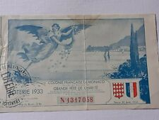 Principauté de MONACO - BILLET  - Années 30 AVRIL 1933 , NUMÉRO 1317058