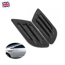 2x Black Car Bonnet Air Flow Intake Side Fender Vent Moulding Trim Decals Stick