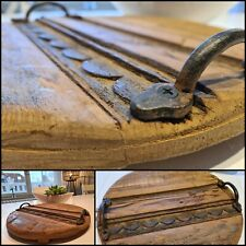 Tablett Antik Holz mit Griff Metall Gr. M - Mod. 4