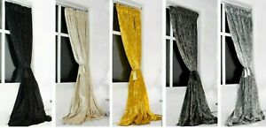 Pair of Heavy Crushed Velvet Curtains Pencil Pleat Ready Made & Fully Lined 5*