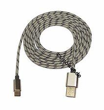 2m Schnellladefähig Kabel Typ USB C USB 3.1 Ladekabel Datenkabel Nylon Silber