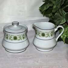 TOWNE HOUSE GREEN DALE CREAM & SUGAR BOWL 3077 SCROLLS FLOWERS FINE CHINA JAPAN