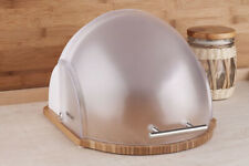 WHITE/Transparent Contemporary Bread Box Roll Top Bin Wooden Base/Loaf Storage
