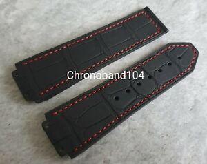 Genuine OEM Hublot 22/20mm Black/Red Alligator Leather/Rubber Strap  UNUSED