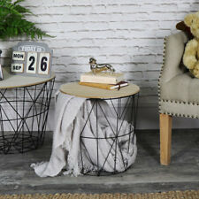 Black metal wire basket wooden top side table storage loft living home furniture