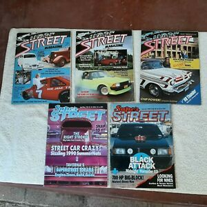 Vintage Super Street magazines. Lot of 5. 1987-90.