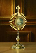 "BRASS CROSS 17""  MONSTRANCE WITH LUNA - CHURCH SUPPLIES - NIB"