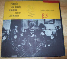 "1957 Joan O'Bryant 10"" Folk Songs and Ballads of Kansas FA 2134 FOLKWAYS RECORDS"