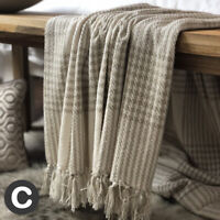 Luxury 100% Cotton Checked Natural Ivory Beige Throw Blanket Bed Sofa Fringed