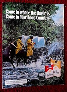 1977 Print Ad Marlboro Man Cigarettes ~ Western Cowboys Cross Stream w/ Wagon
