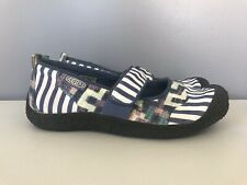 T5 Keen 1005551 Blue White Cotton Canvas Striped Harvest Mary Jane Womens 7.5