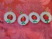 Vintage Christmas Ornaments Beaded Handmade