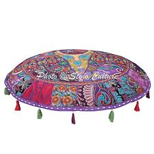 Indian Ottoman Pouf Cover Patchwork Embroidered Floor Cushion Cover Pouffe