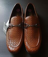 Van Heusen Drive Weave Mens Loafers Shoes Mocha Brown Pattern Leather 10.5 New