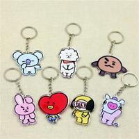 Kpop BTS BT21 Cute Key Chain Bangtan Boys TATA RJ COOKY SHOOKY Acrylic Keyring
