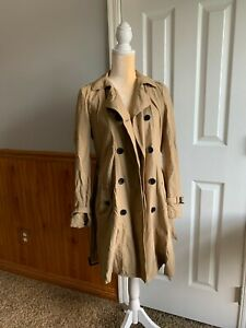 Gap Tan Trench Coat double breasted belted size m medium