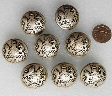 """8 vintage military uniform buttons British Royal Coat of Arms 1 1/8"""" (34mm) army"""