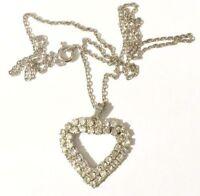 pendentif chaine bijou vintage cœur couleur argent et cristaux diamant * 3929