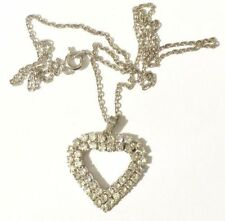 pendentif chaine bijou vintage coeur couleur argent et cristaux diamant * 3929