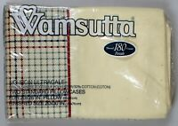 Vintage Wamsutta 2 standard pillow cases gingham square retro 180 Thread count