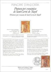 Timbre 1er jour sur doc. philatélique-Peinture pré-Romane St CERNI de NAGOL-1985