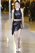 ANTHONY VACCARELLO $4610 black leather cut out asymmetric gold ring dress 38 NEW