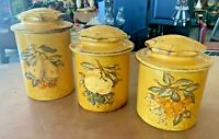 VINTAGE MCM MUSTARD YELLOW CANISTER SET BAKING JARS WITH FRUIT DECALS