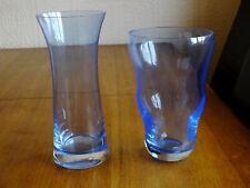 PAIR OF BOHEMIA CZECH PALE BLUE GLASS VASES