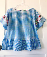 Matilda Jane Women's Rural Route Blue & White Gingham Short Sleeve Top Size XS