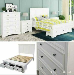 NEW WHITE Queen Bedroom suite, Queen Bed, tallboy, bedsides,Hampton,king upgrade