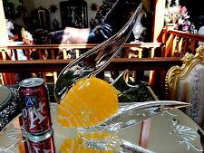 BEAUTIFL LG Yellow White HM Glass ANGEL FISH Figurine Paperweight Murano ITALY!