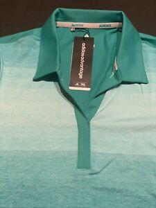 Adidas Women's Medium 3-Stripes Shoulder Sport Shirt Ladies dri-fit Golf Polo