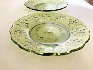 Set of 2 Princess House Fantasia Green Leaf Salad Dessert Plates