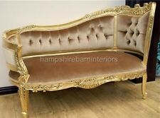 SMALL CHAISE GOLD LEAF VELVET ORNATE FRENCH LOUIS LONGUE LOUNGE SOFA LOVE SEAT