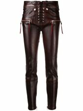 Lace-up Antique Jeans Real Leather Wax Maroon Pant Women Sim Fit Trouser / S-5XL