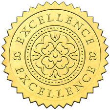 "Elegant GOLD embossed foil certificate seals ""EXCELLENCE"" - 50 pack"