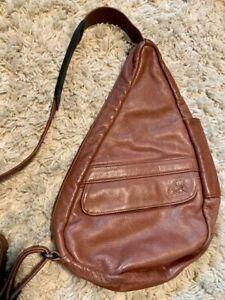 AmeriBag Medium Leather Healthy Back Bag Chestnut Brown Sling Classic