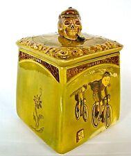 CERAMIC BOY BICYCLE RIDERS SKULL HEAD LID HANDLE HUMIDOR #6248 UNITED KINGDOM