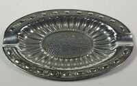 Oval Silver Color Ashtray Made In Japan Metal Rare Vintage