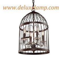 "14"" Rustic Iron Steel Frame Bird Cage Lustre Crystal Pendant Chandelier Burbank"
