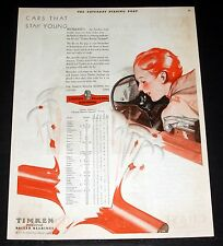 1930 OLD MAGAZINE PRINT AD, TIMKEN ROLLER BEARINGS, FOR CARS THAT STAY YOUNG!