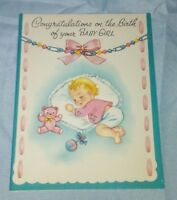 VINTAGE UNUSED CONGRATULATIONS BABY GIRL GREETING CARD