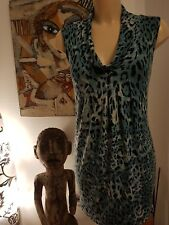 Planet Teal/Black Animal Print Viscose Stretch Dress Size XS Mint Condition