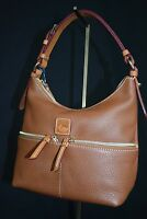 NWT! Dooney & Bourke Dillen Leather Small Pocket Satchel in Saddle Brown Leather